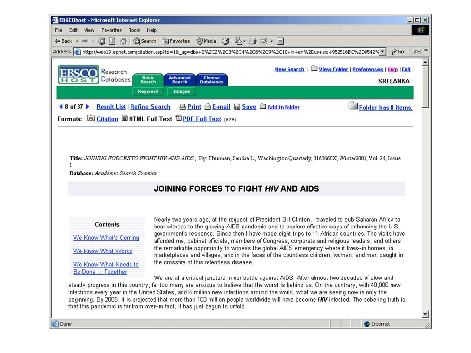 Electronic Journals and Electronic Library Resources: PERI Resources - EBSCO