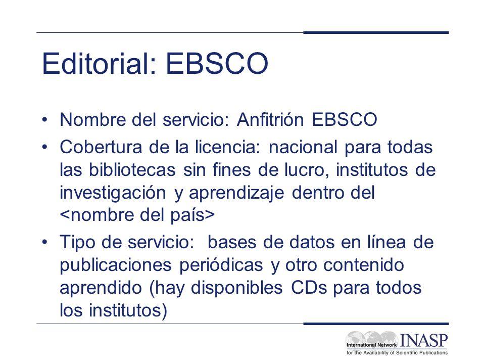 Editorial: EBSCO Nombre del servicio: Anfitrión EBSCO