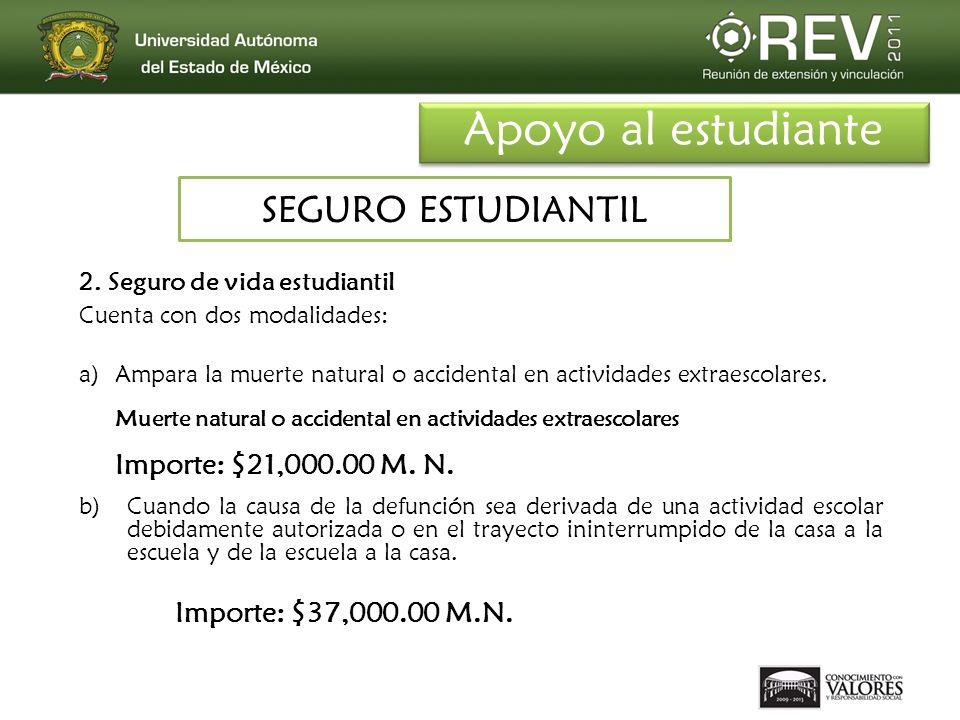 Apoyo al estudiante SEGURO ESTUDIANTIL Importe: $21,000.00 M. N.