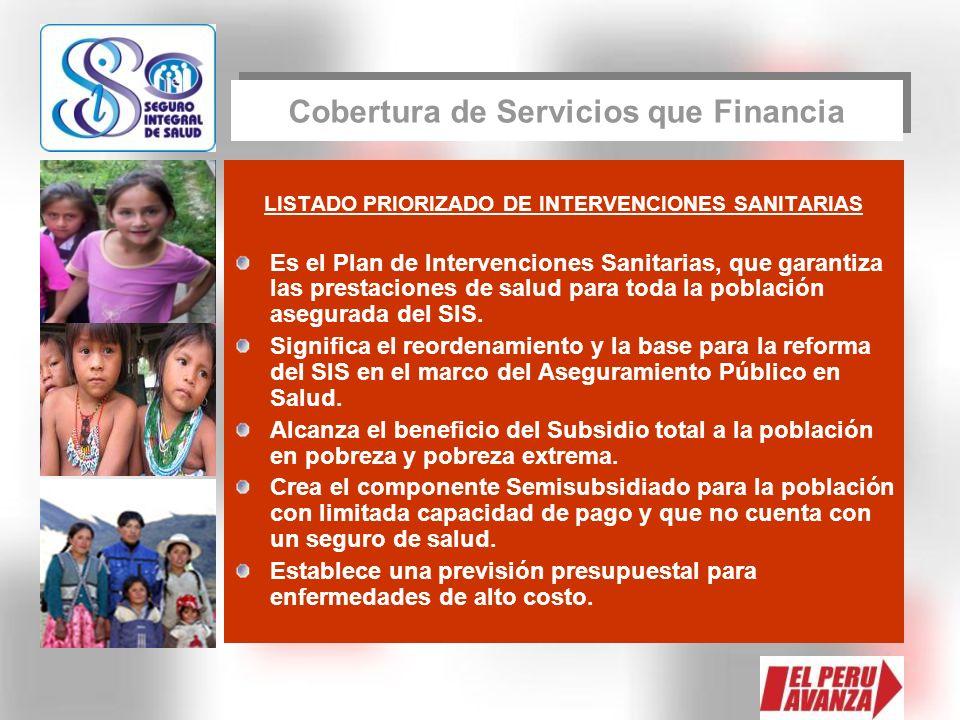 Cobertura de Servicios que Financia
