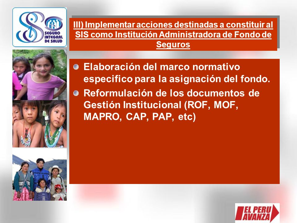 III) Implementar acciones destinadas a constituir al SIS como Institución Administradora de Fondo de Seguros
