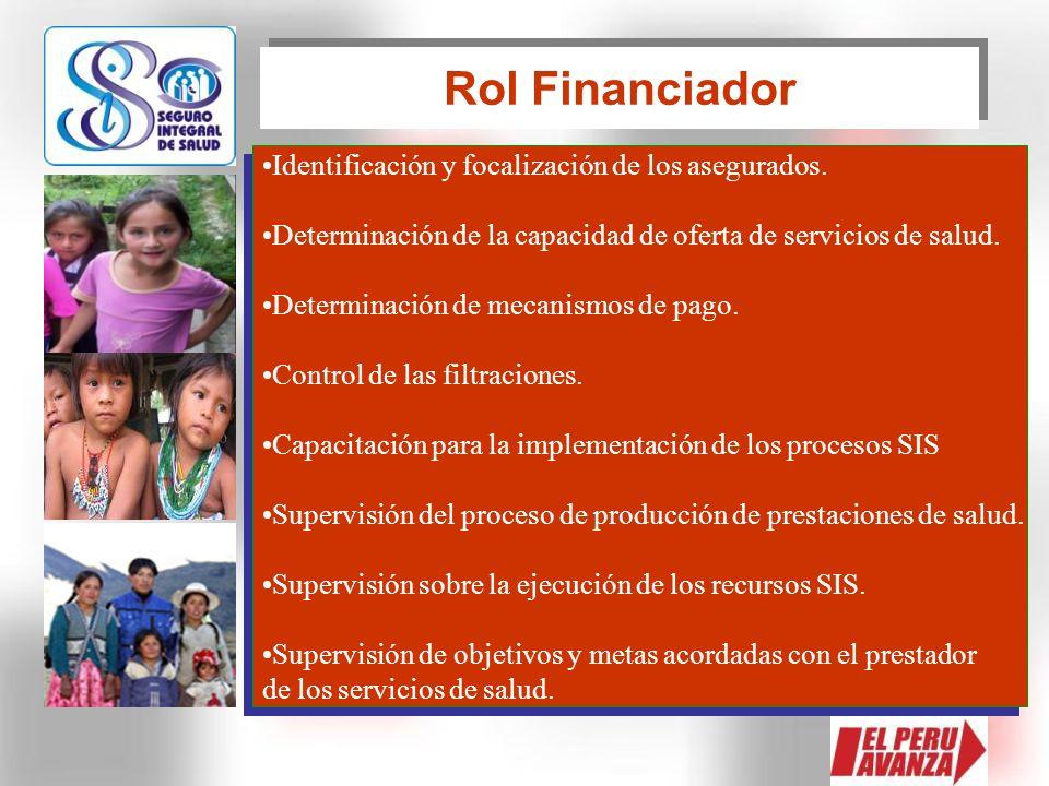 Rol Financiador Identificación y focalización de los asegurados.