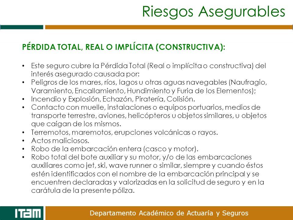 Riesgos Asegurables PÉRDIDA TOTAL, REAL O IMPLÍCITA (CONSTRUCTIVA):