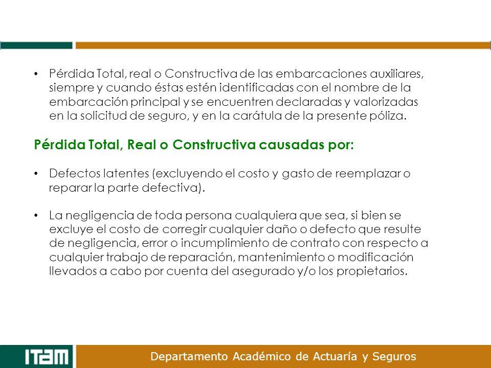 Pérdida Total, Real o Constructiva causadas por: