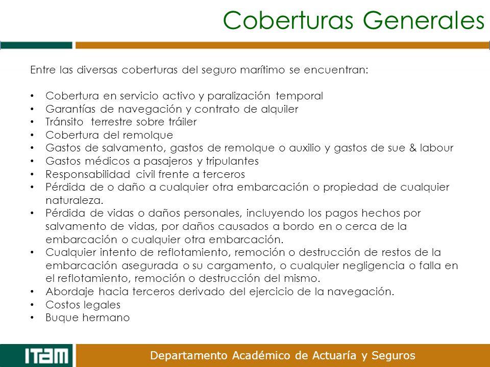 Coberturas Generales Entre las diversas coberturas del seguro marítimo se encuentran: Cobertura en servicio activo y paralización temporal.