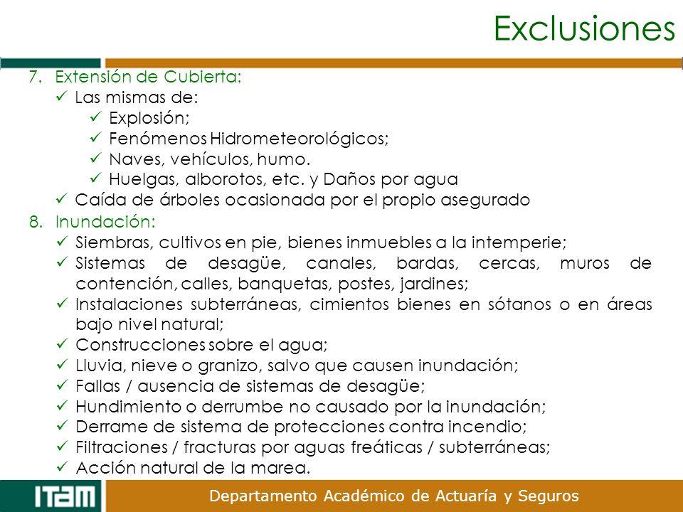 Exclusiones Extensión de Cubierta: Las mismas de: Explosión;