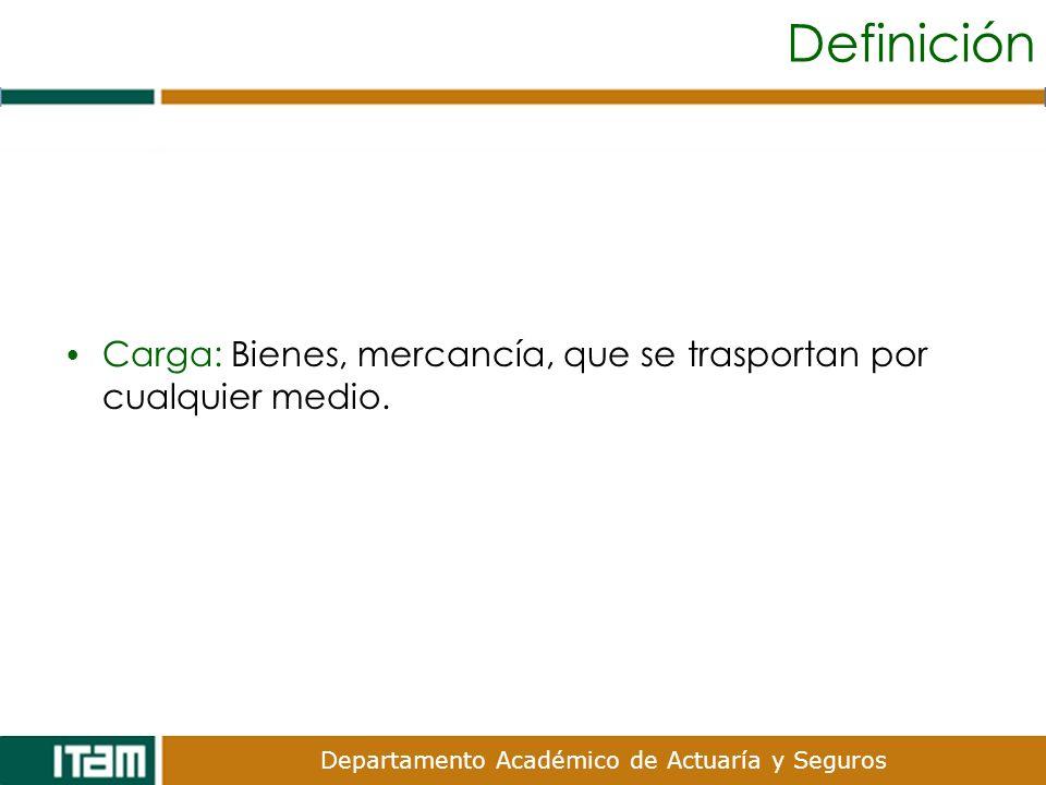 Definición Carga: Bienes, mercancía, que se trasportan por cualquier medio.