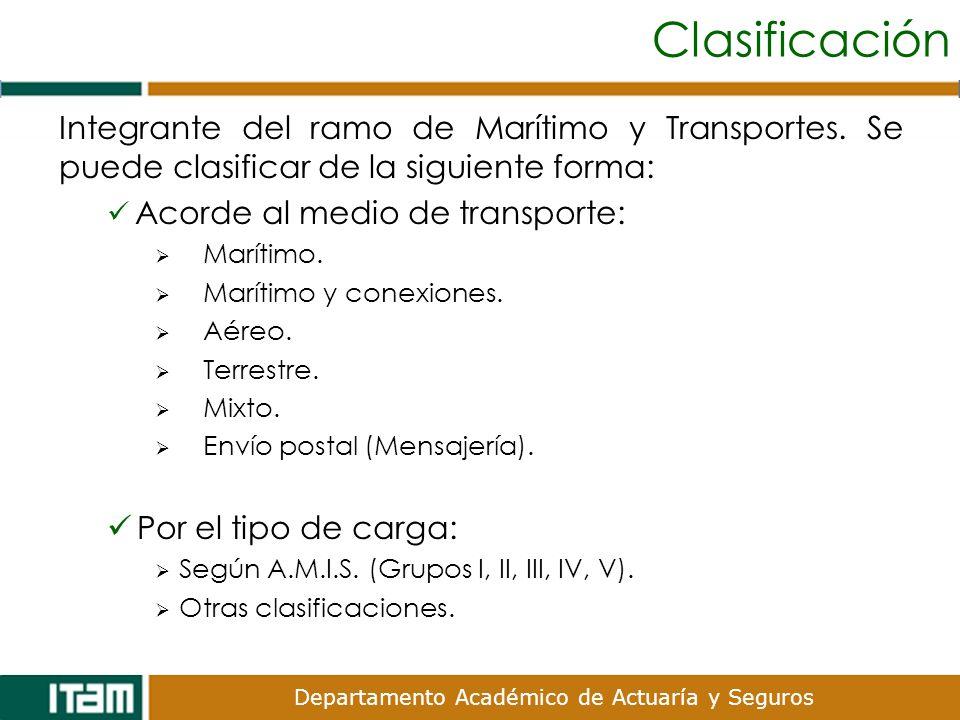 Clasificación Integrante del ramo de Marítimo y Transportes. Se puede clasificar de la siguiente forma: