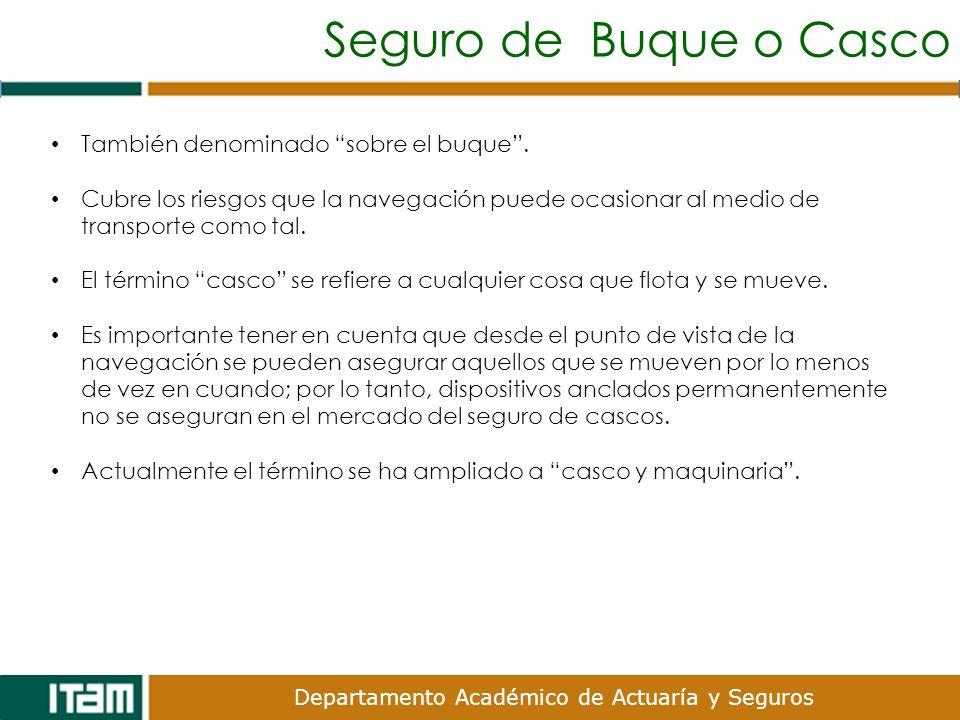 Seguro de Buque o Casco También denominado sobre el buque .