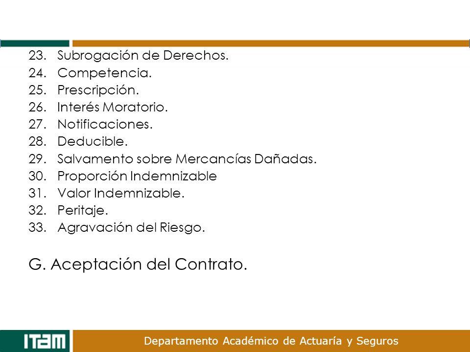 G. Aceptación del Contrato.