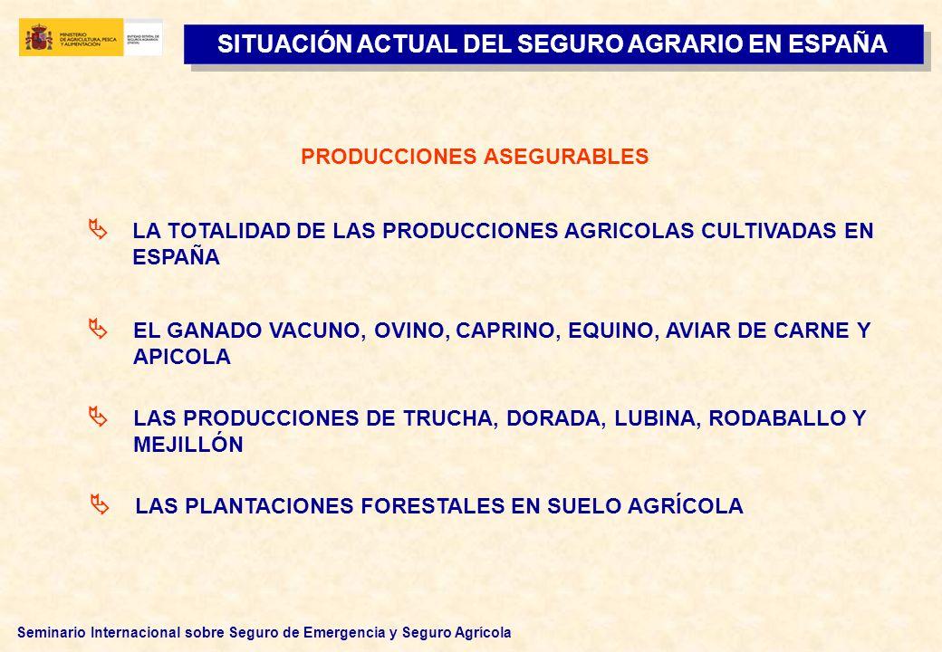SITUACIÓN ACTUAL DEL SEGURO AGRARIO EN ESPAÑA PRODUCCIONES ASEGURABLES