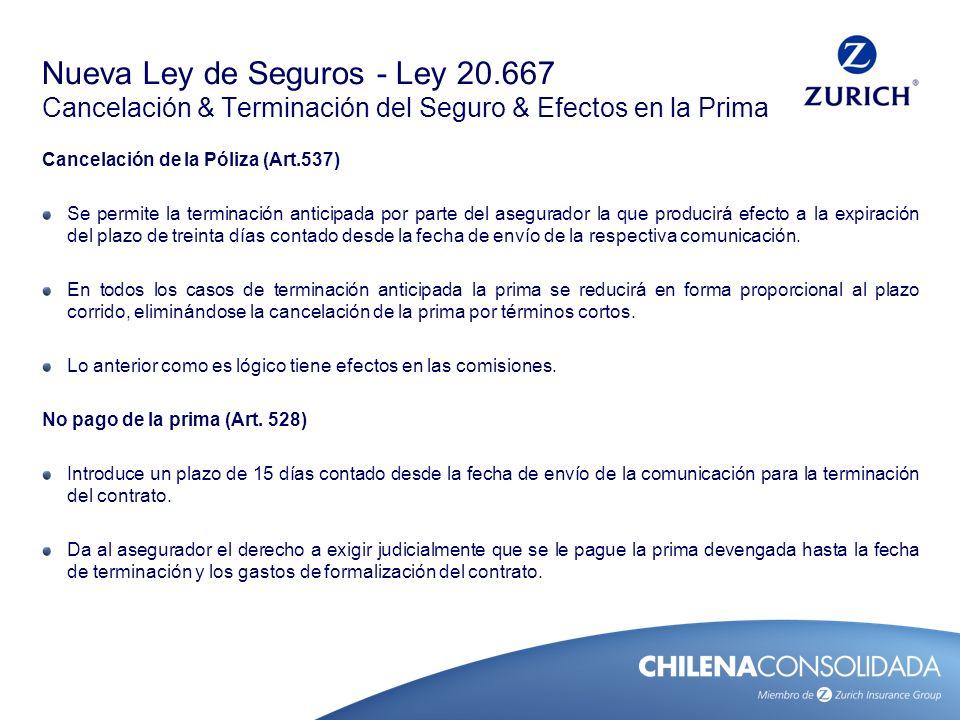 Nueva Ley de Seguros - Ley 20.667