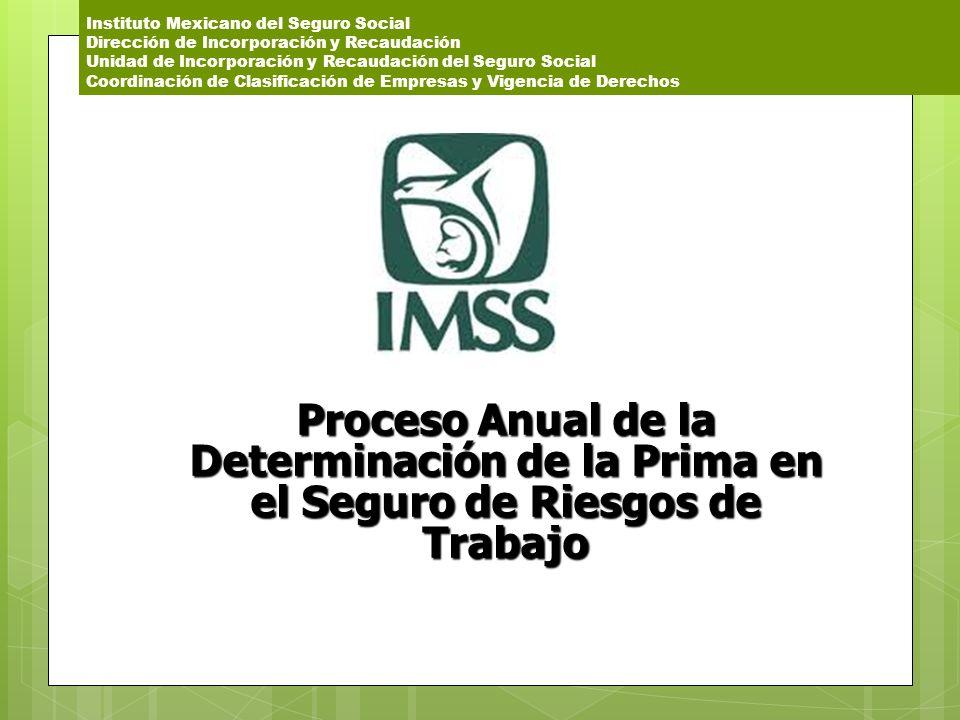 Instituto Mexicano del Seguro Social Dirección de Incorporación y Recaudación Unidad de Incorporación y Recaudación del Seguro Social Coordinación de Clasificación de Empresas y Vigencia de Derechos
