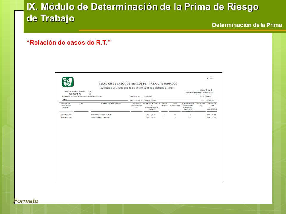 IX. Módulo de Determinación de la Prima de Riesgo de Trabajo