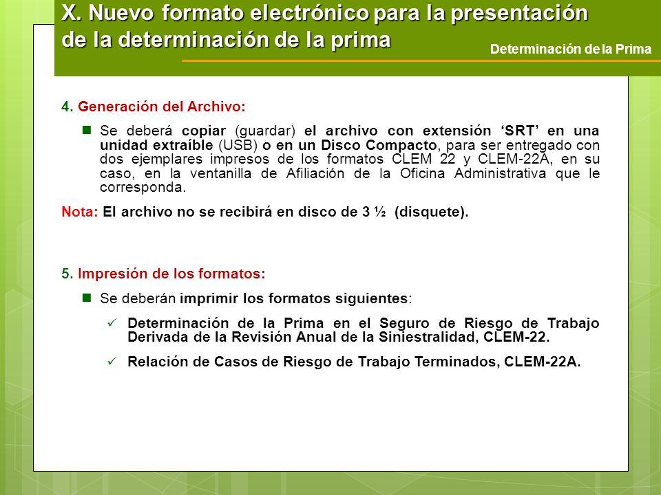 X. Nuevo formato electrónico para la presentación de la determinación de la prima