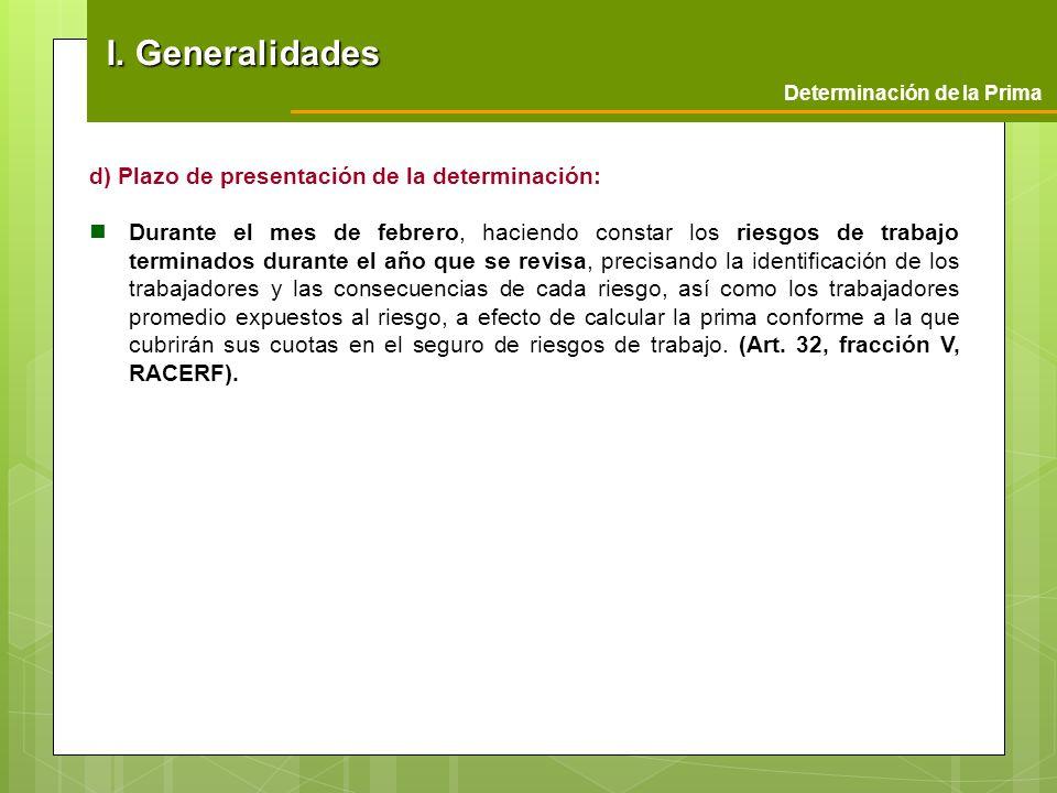 I. Generalidades d) Plazo de presentación de la determinación: