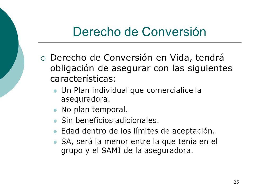 Derecho de Conversión Derecho de Conversión en Vida, tendrá obligación de asegurar con las siguientes características:
