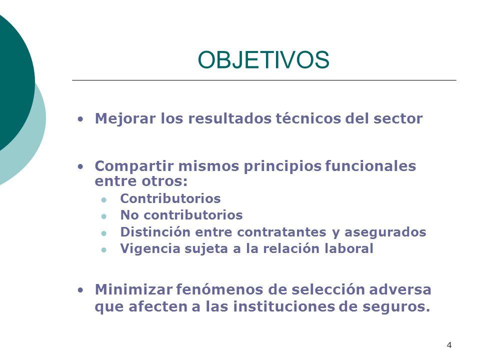 OBJETIVOS Mejorar los resultados técnicos del sector
