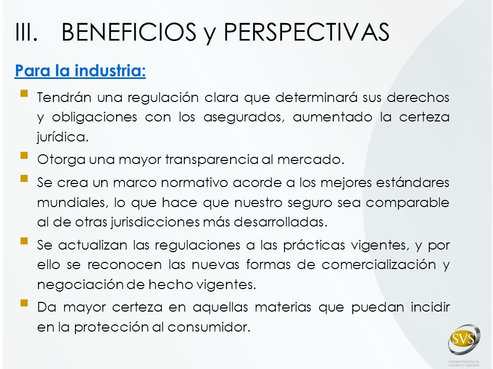 BENEFICIOS y PERSPECTIVAS