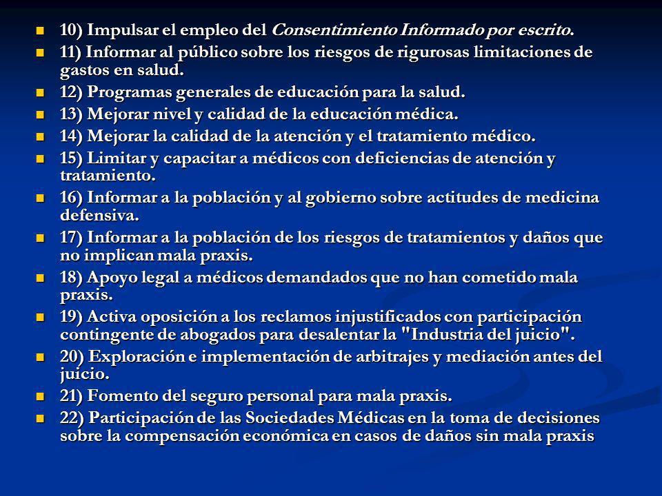 10) Impulsar el empleo del Consentimiento Informado por escrito.