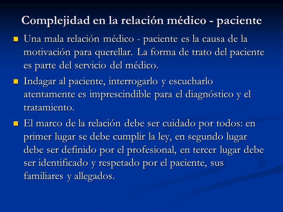 Complejidad en la relación médico - paciente