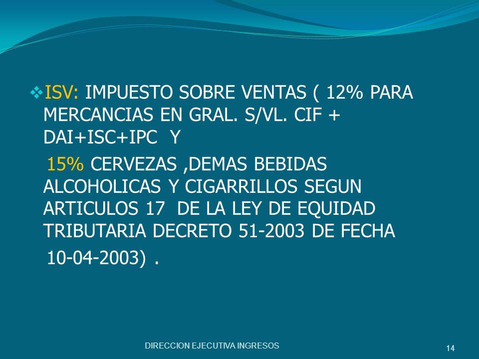 ISV: IMPUESTO SOBRE VENTAS ( 12% PARA MERCANCIAS EN GRAL. S/VL