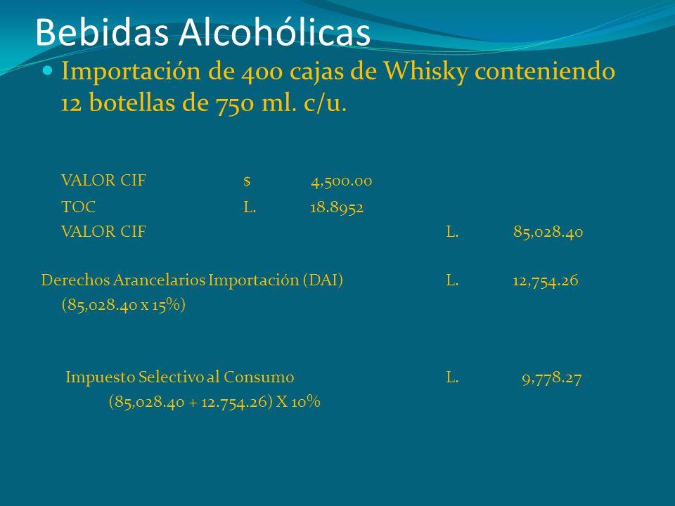 Bebidas Alcohólicas Importación de 400 cajas de Whisky conteniendo 12 botellas de 750 ml. c/u. VALOR CIF $ 4,500.00.
