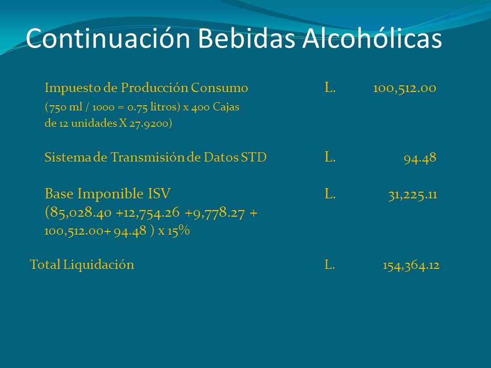 Continuación Bebidas Alcohólicas