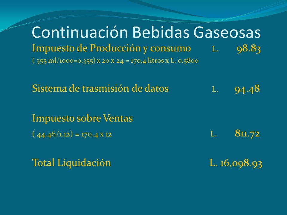 Continuación Bebidas Gaseosas