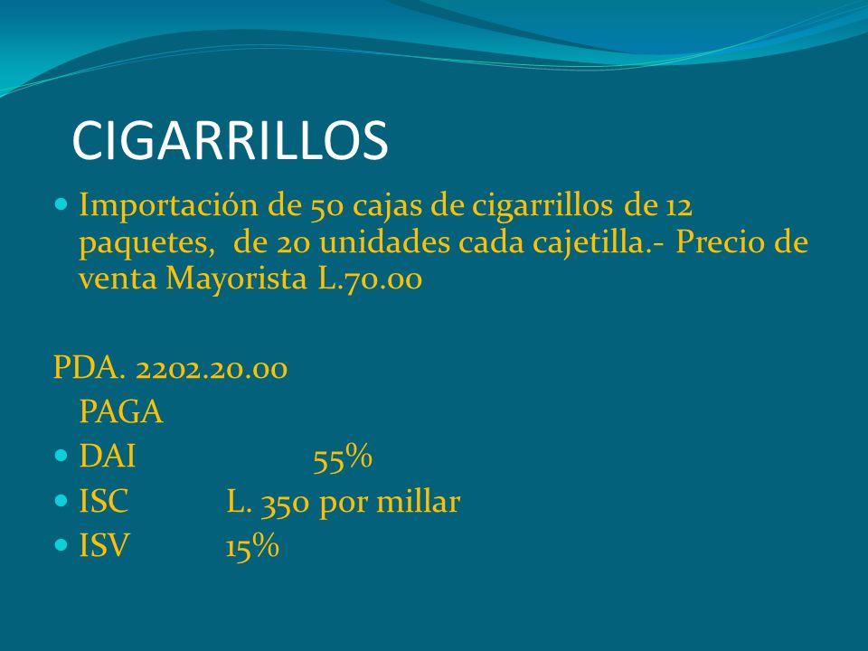 CIGARRILLOS Importación de 50 cajas de cigarrillos de 12 paquetes, de 20 unidades cada cajetilla.- Precio de venta Mayorista L.70.00.