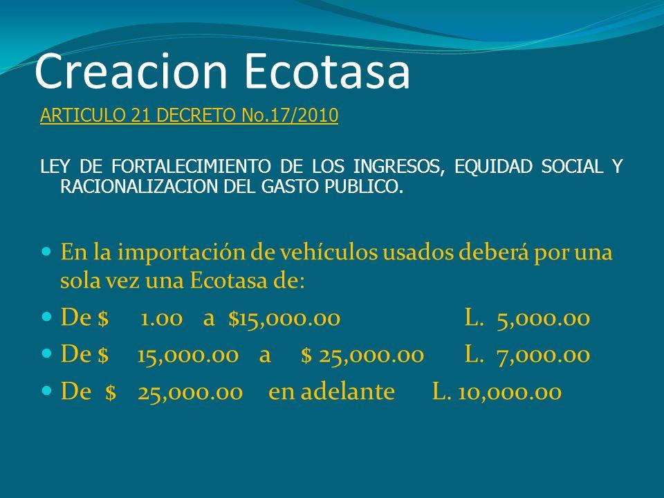 Creacion Ecotasa De $ 1.00 a $15,000.00 L. 5,000.00