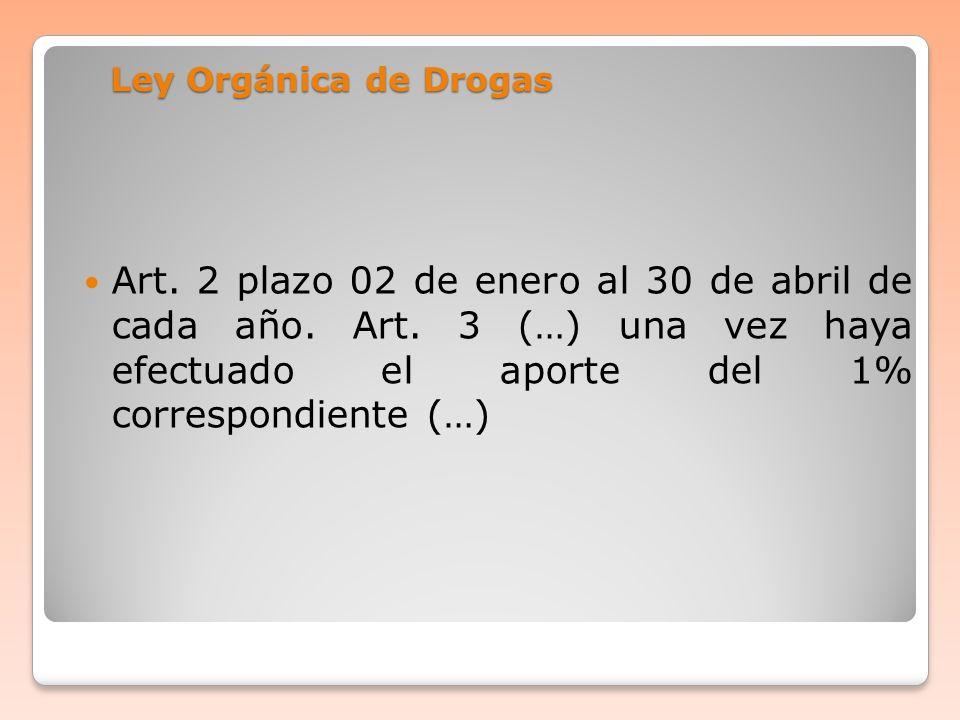 Ley Orgánica de Drogas Art. 2 plazo 02 de enero al 30 de abril de cada año.