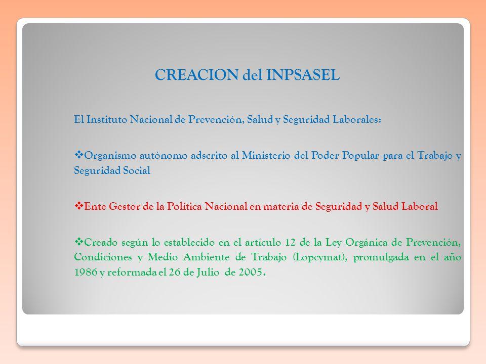 CREACION del INPSASEL El Instituto Nacional de Prevención, Salud y Seguridad Laborales:
