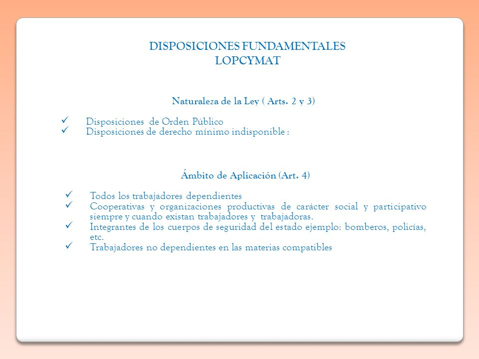 DISPOSICIONES FUNDAMENTALES LOPCYMAT