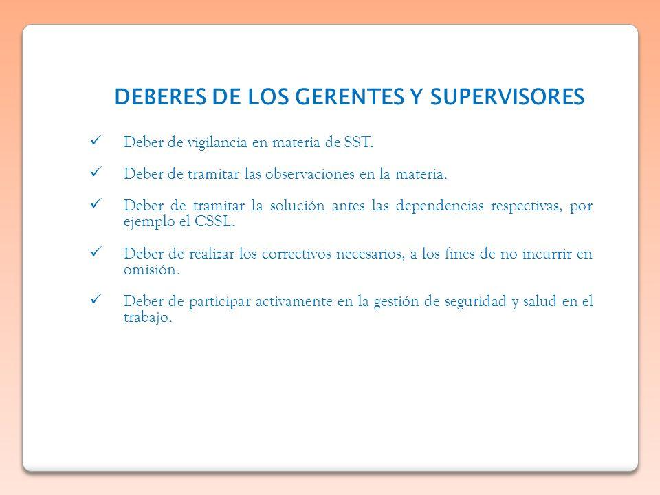 DEBERES DE LOS GERENTES Y SUPERVISORES