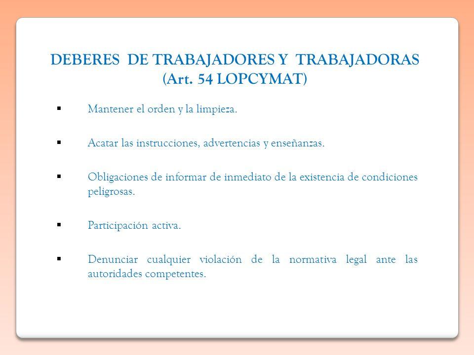 DEBERES DE TRABAJADORES Y TRABAJADORAS