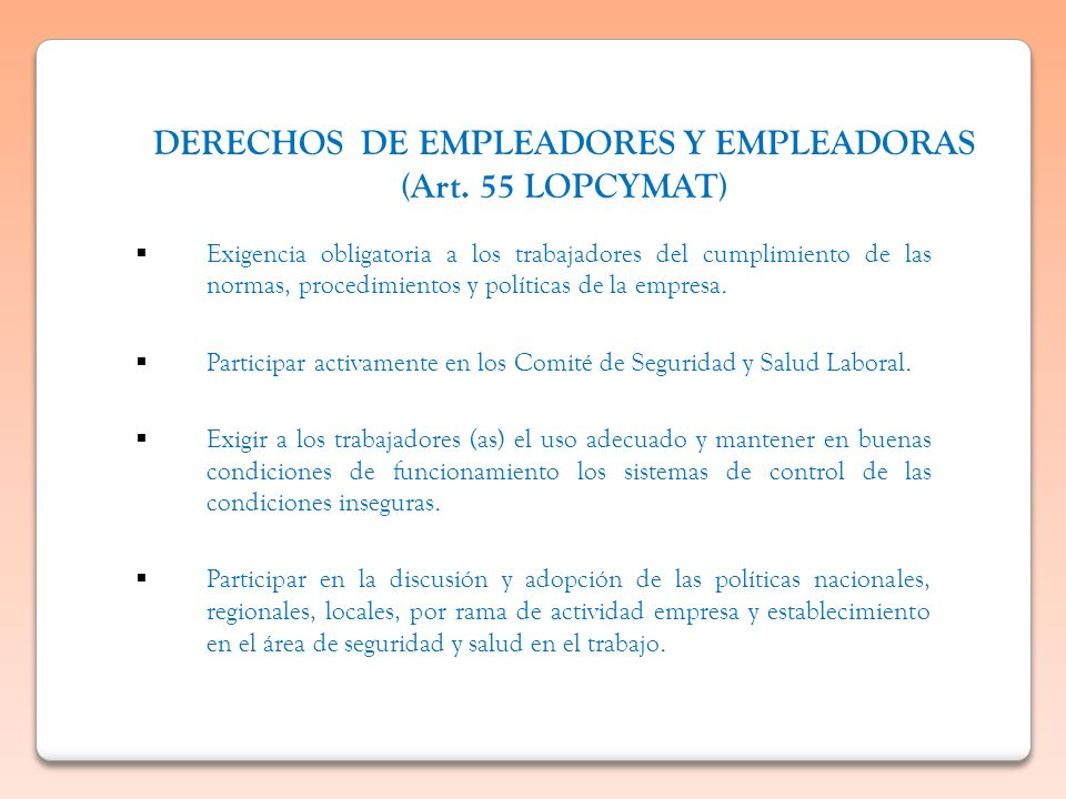 DERECHOS DE EMPLEADORES Y EMPLEADORAS