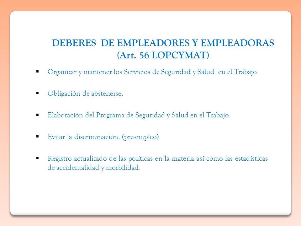 DEBERES DE EMPLEADORES Y EMPLEADORAS