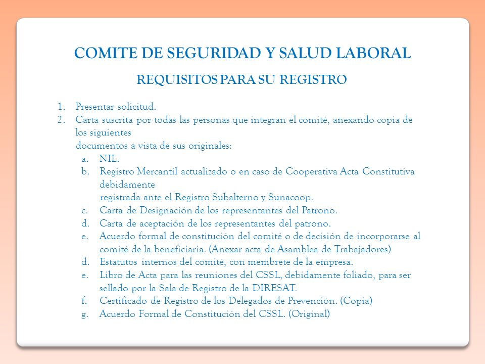 COMITE DE SEGURIDAD Y SALUD LABORAL REQUISITOS PARA SU REGISTRO