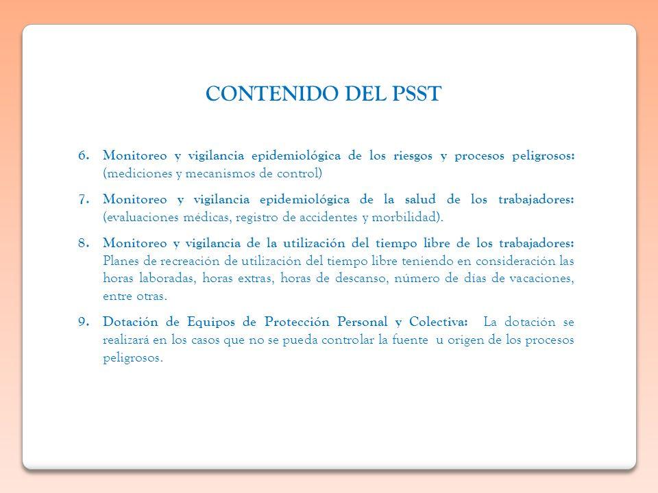 CONTENIDO DEL PSST Monitoreo y vigilancia epidemiológica de los riesgos y procesos peligrosos: (mediciones y mecanismos de control)