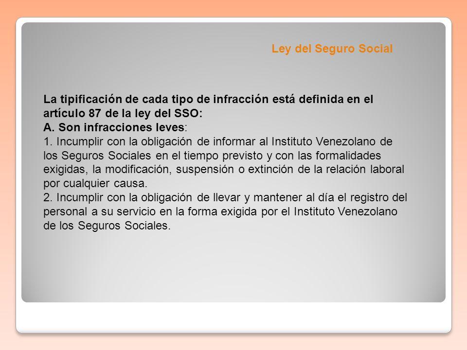 Ley del Seguro SocialLa tipificación de cada tipo de infracción está definida en el artículo 87 de la ley del SSO: