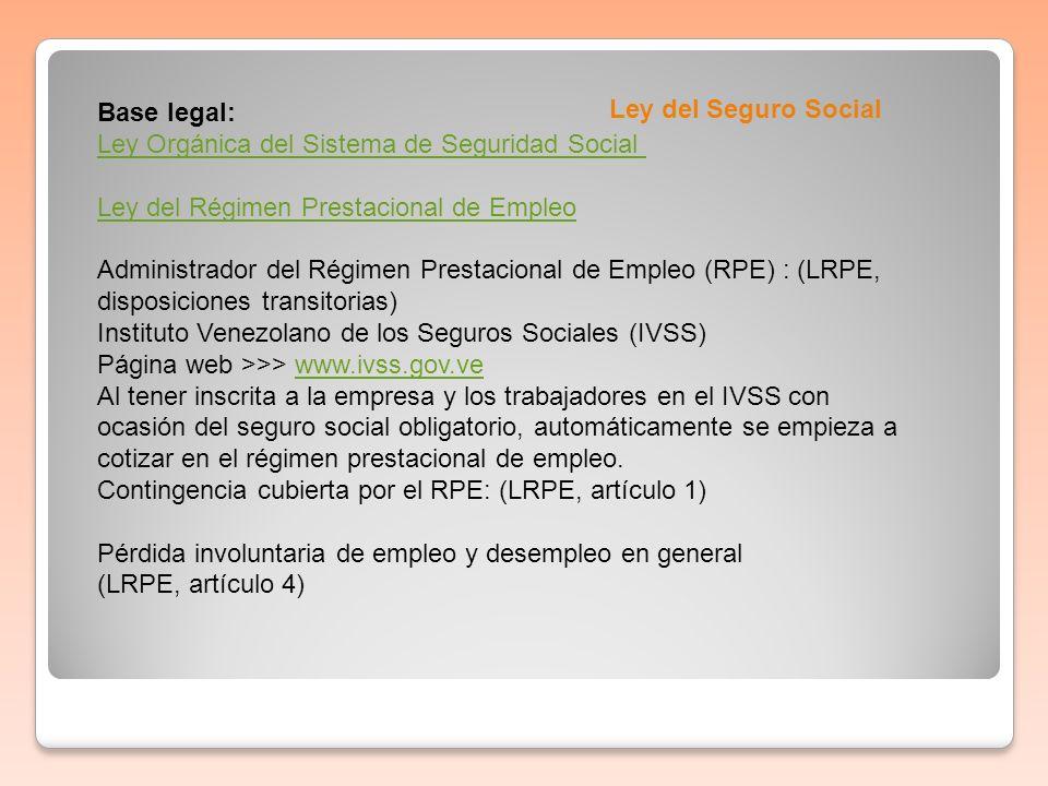 Base legal:Ley Orgánica del Sistema de Seguridad Social Ley del Régimen Prestacional de Empleo.
