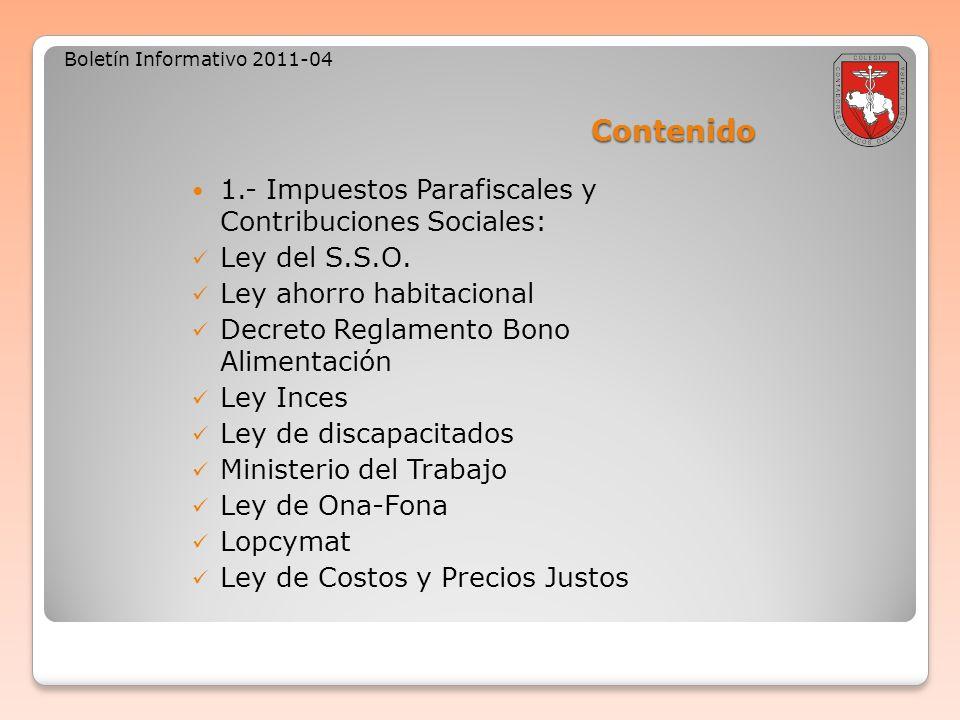 Contenido 1.- Impuestos Parafiscales y Contribuciones Sociales: