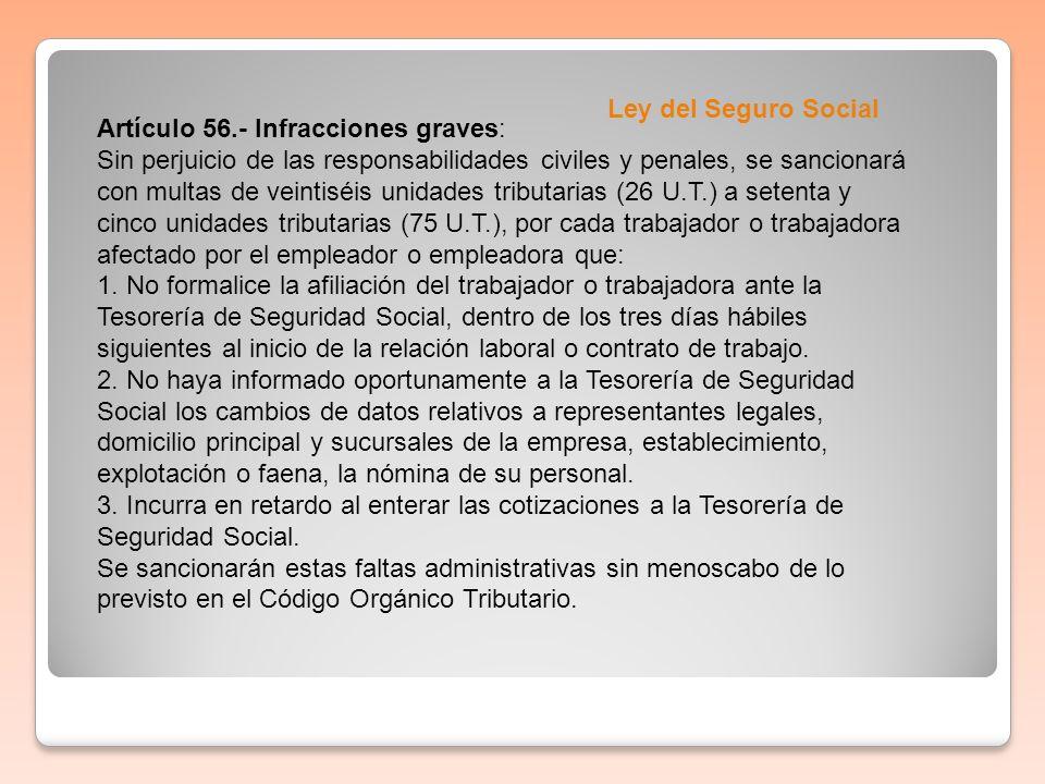 Ley del Seguro SocialArtículo 56.- Infracciones graves: