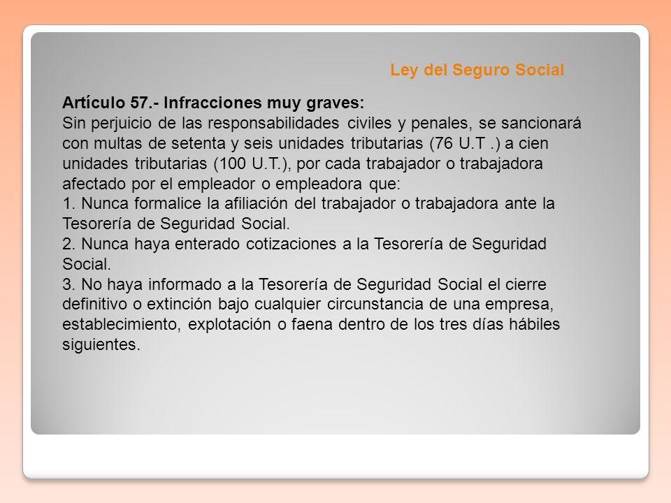 Ley del Seguro Social Artículo 57.- Infracciones muy graves: