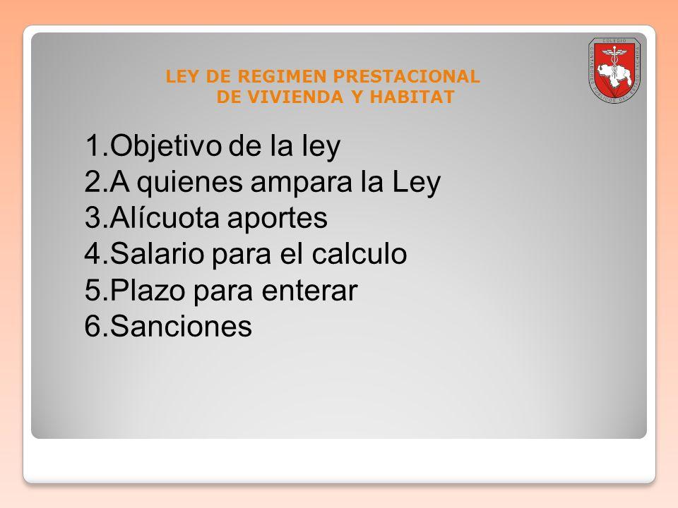 LEY DE REGIMEN PRESTACIONAL DE VIVIENDA Y HABITAT