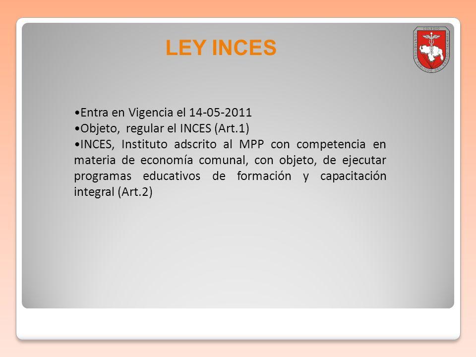 LEY INCES Entra en Vigencia el 14-05-2011