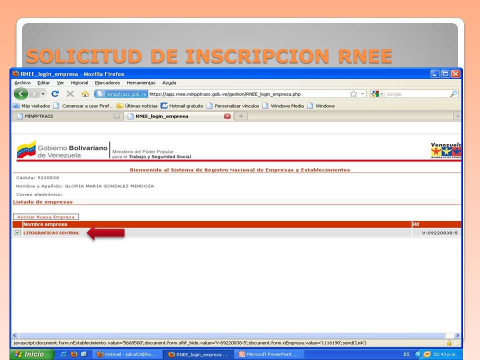 SOLICITUD DE INSCRIPCION RNEE