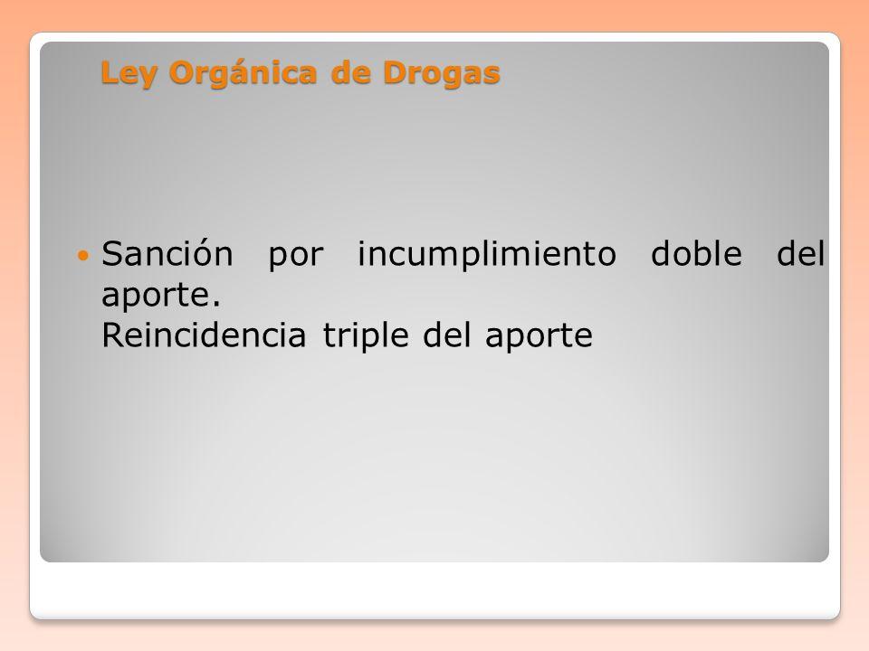 Ley Orgánica de Drogas Sanción por incumplimiento doble del aporte.