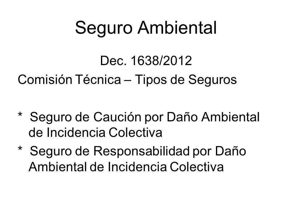 Seguro Ambiental Dec. 1638/2012 Comisión Técnica – Tipos de Seguros